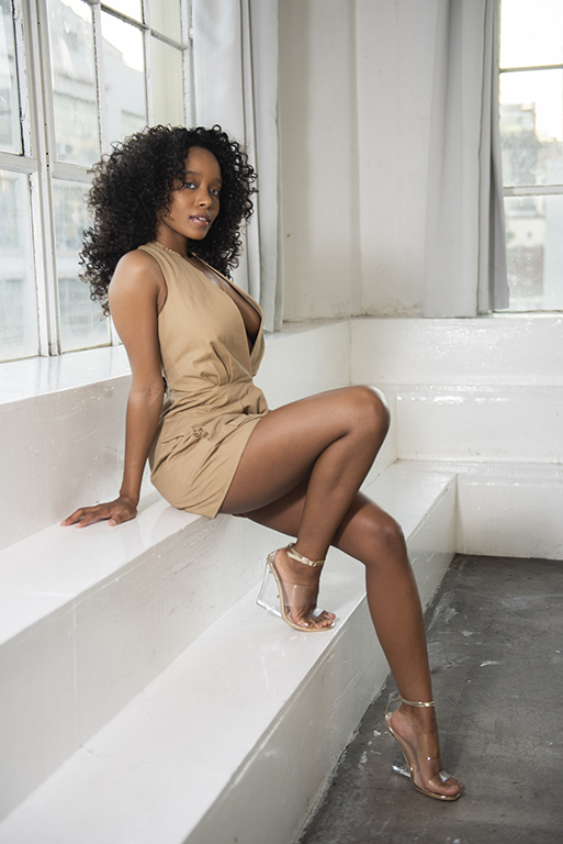 Actress takes branding photos in downtown los angles studio