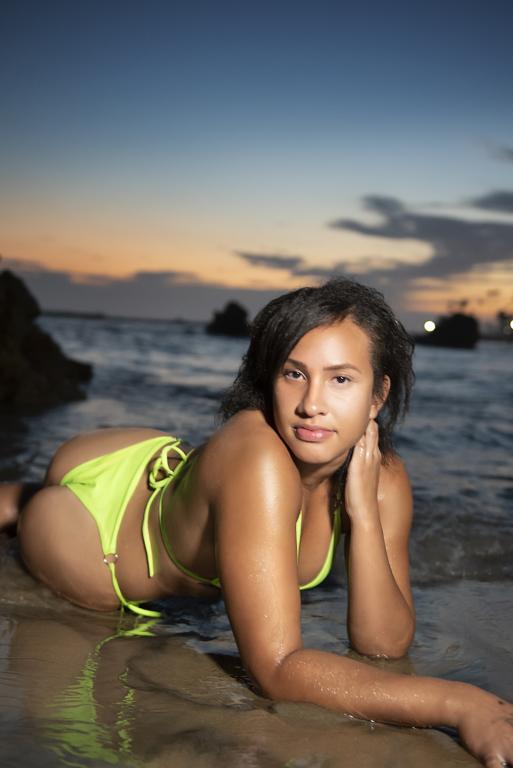 model posing at newport beach